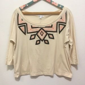 Gap Boho Embroidered Embellished Crop Top Large